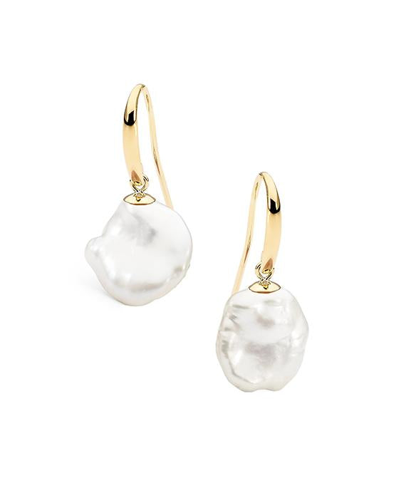 9ct Yellow Gold Keshi Freshwater Pearl 12-13mm Hook Earrings