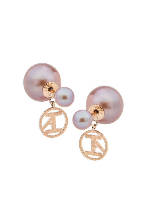 Rose Gold Plated Pink Freshwater Pearl Stud Earrings