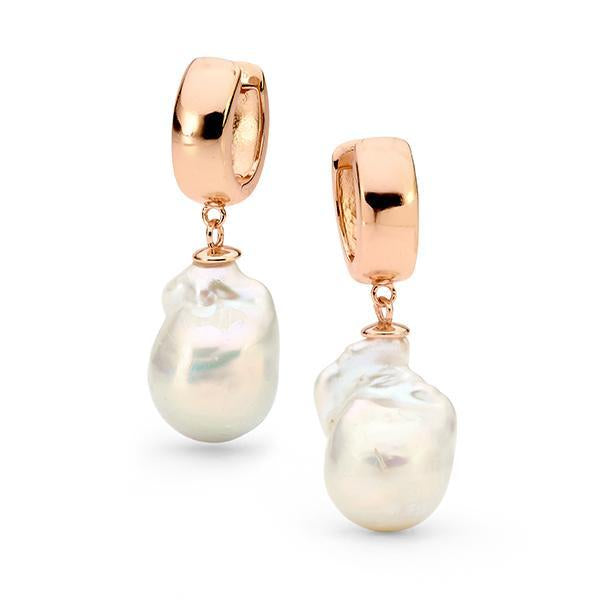 14ct Rose Gold Plated Sterling Silver Pearl Huggie Earrings