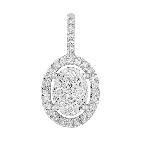 Oval Pendant with 0.15ct Diamonds in 9K White Gold