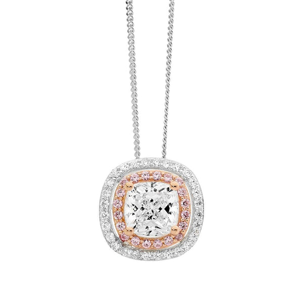Rose Gold Plated Sterling Silver Cubic Zirconia Pendant & Chain