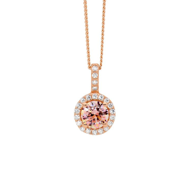 Sterling Silver Morganite Cubic Zirconia Solitaire w/  Cubic Zirconia Surround Pendant w/Rose Gold Plating