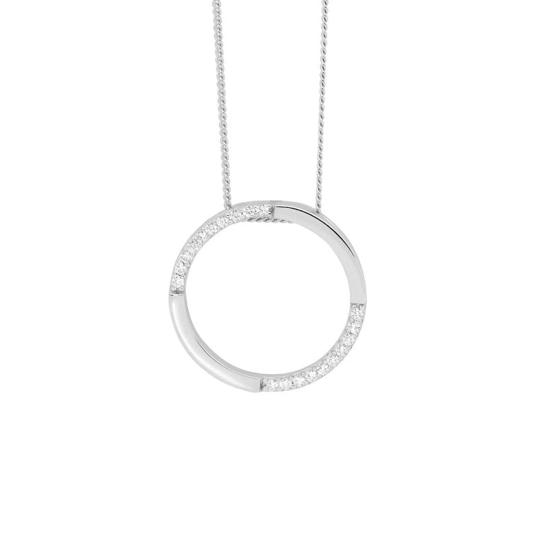 Sterling Silver Cubic Zirconia 20mm Open Circle Pendant