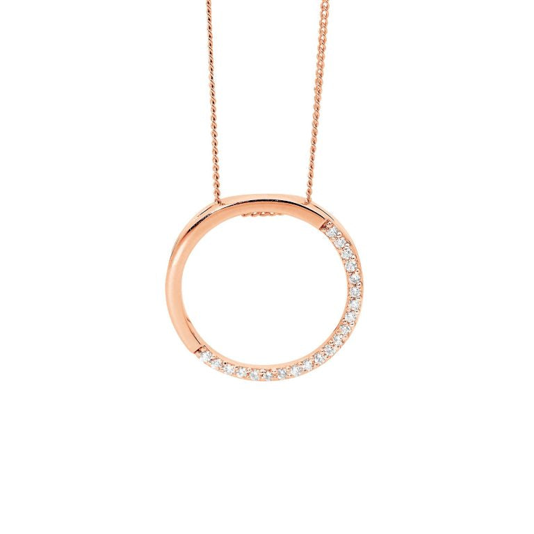 Sterling Silver 20mm Open Circle, Half  Cubic Zirconia Pendant w/ Rose Gold Plating