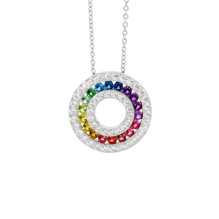 Sterling Silver Multi Colour Cubic Zirconia Chanel set 20mm Circle Pendant w/  Cubic Zirconia surround