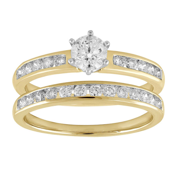 Solitaire Ring Set with 1ct Diamond in 18K Yellow & White Gold