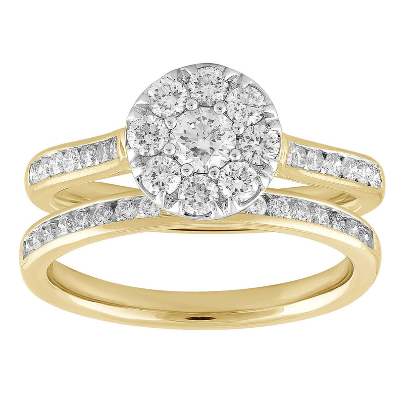 Ring Set with 1ct Diamond in 18K Yellow & White Gold