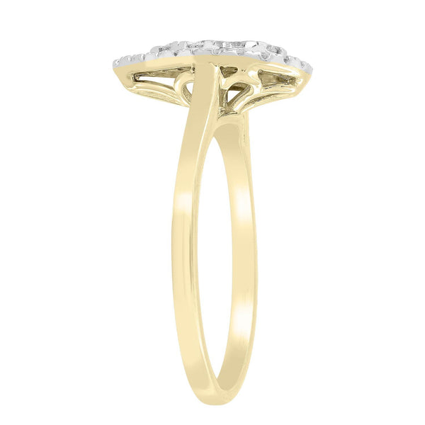 Pear Ring with 0.5ct Diamonds in 9K Yellow Gold