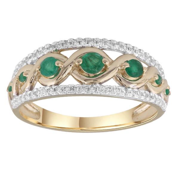 Emerald Ring with 0.2ct Diamonds in 9K Yellow Gold