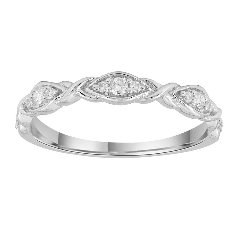 Band Ring with 0.1ct Diamonds in 9K White Gold