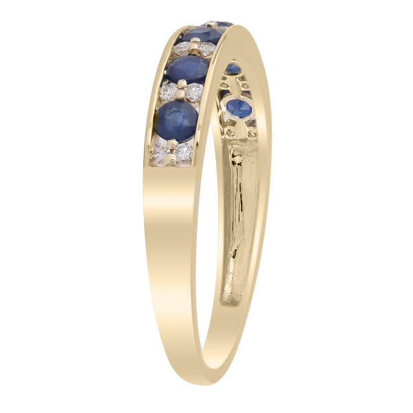 Sapphire Band Ring with 0.1ct Diamonds in 9K Yellow Gold