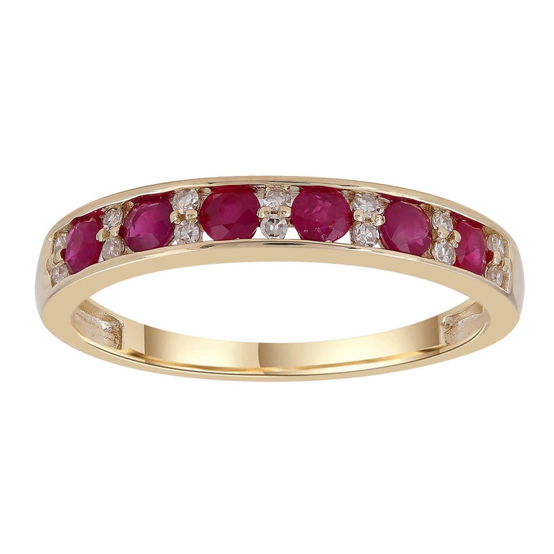 Ruby Band Ring with 0.1ct Diamonds in 9K Yellow Gold
