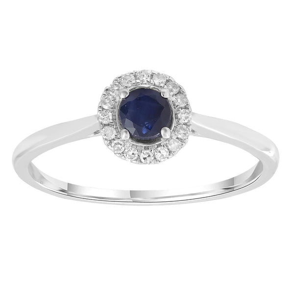 Sapphire Ring with 0.08ct Diamonds in 9K White Gold