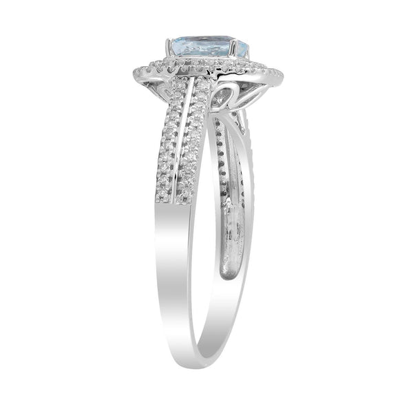 Aquamarine Ring with 0.33ct Diamonds in 9K White Gold
