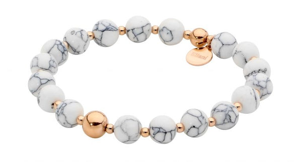 Stainless Steel & 8mm Howlite Ball Stretch Bracelet w/ Rose Gold IP Plating
