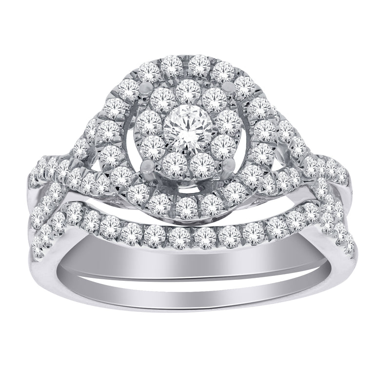 1.0ct TW of Diamond Halo Engagement & Wedding Ring Set in 10ct White Gold