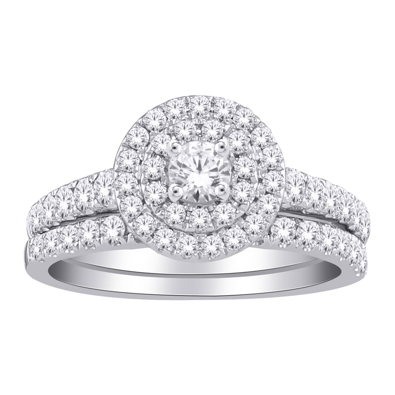 1.0ct TW of Diamond Engagement & Wedding Ring Set in 10ct White Gold
