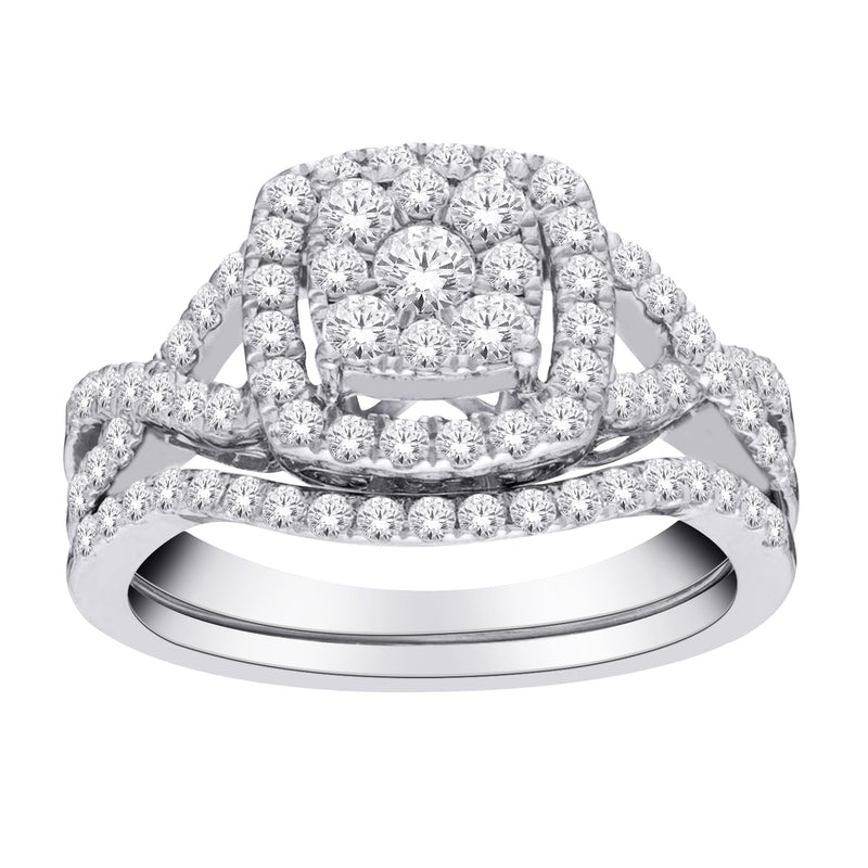 1.0ct TW Diamond Engagement & Wedding Ring Set in 10k White Gold