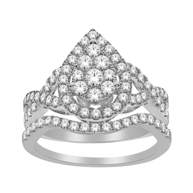 1.0ct TW Diamond Pear Shape Engagement & Wedding Ring Set in 10k White Gold