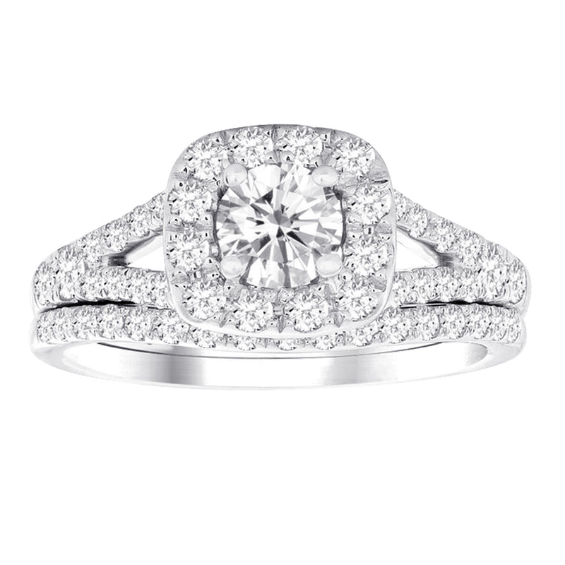1.0ct TW Diamond Halo Engagement & Wedding Ring Set in 14k White Gold