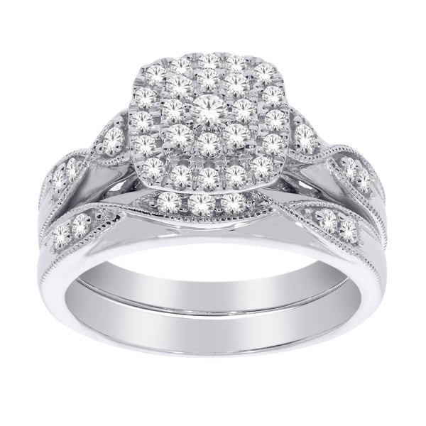 Bridal Set with 1.0ct TW of Diamonds in 10ct White Gold