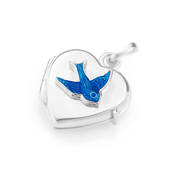 Sterling Silver Bluebird Heart Locket