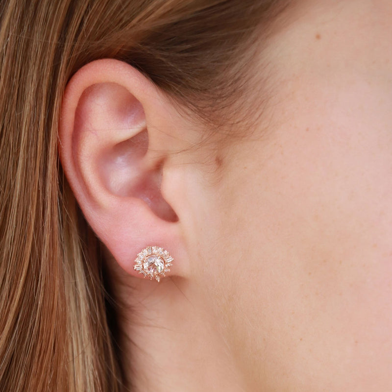 Morganites Stud Earrings with 0.1ct Diamonds in 9K Rose Gold