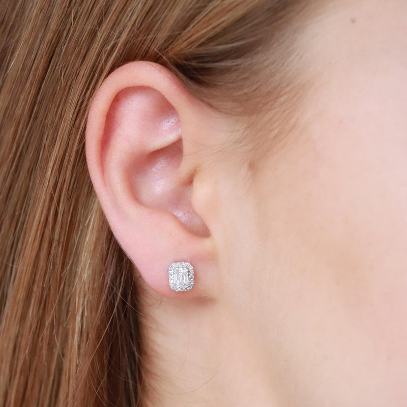 Stud Earrings with 0.33ct Diamonds in 9K White Gold