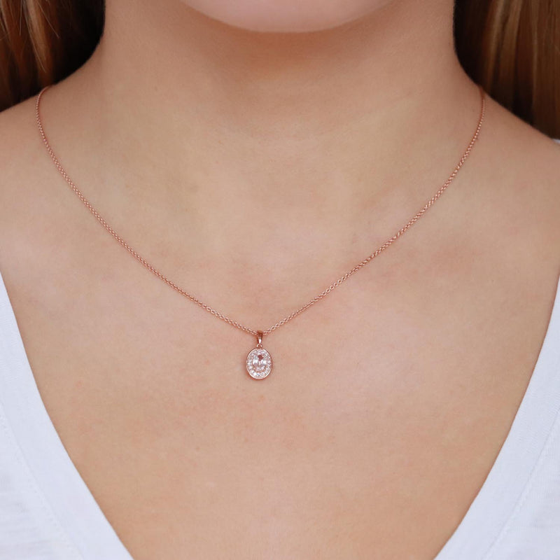 Morganite Pendant with 0.1ct Diamonds in 9K Rose Gold