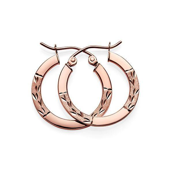 9Ct Rose Gold Diamond Cut Hoop Earrings