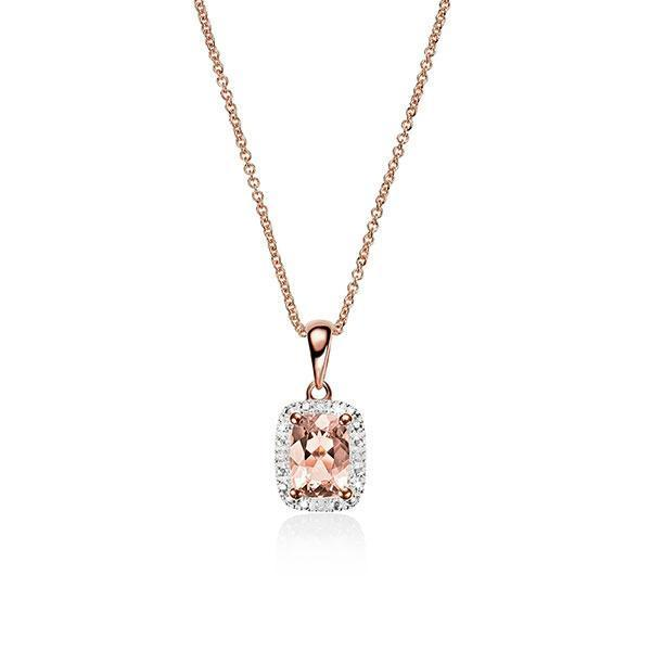 9Ct Rose Gold Cushion Cut Morganite & Diamond Halo Pendant