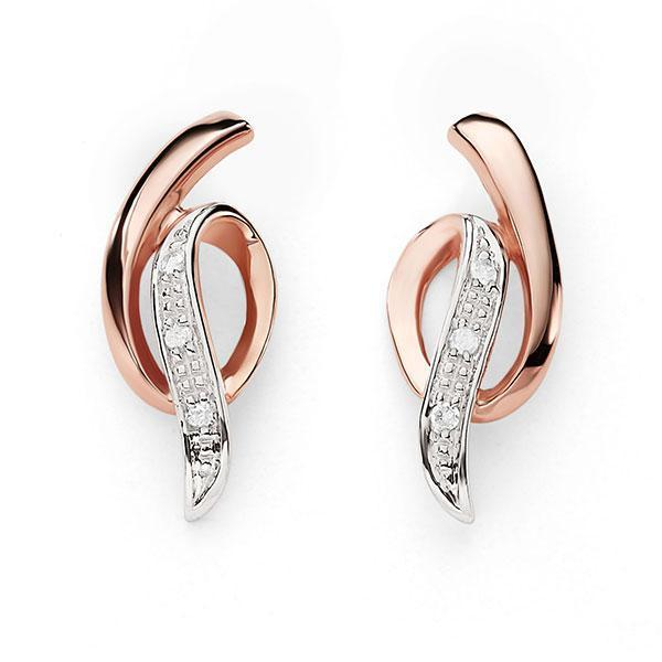 9Ct Rose Gold Diamond Stud Earrings