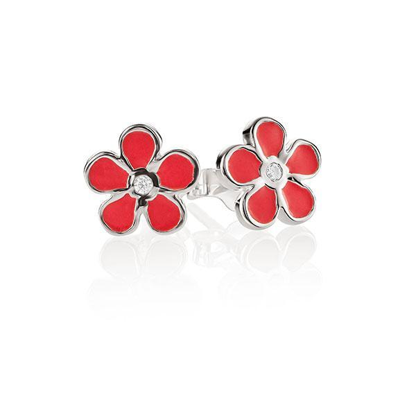Sterling Silver Enamel Flower Stud Earrings