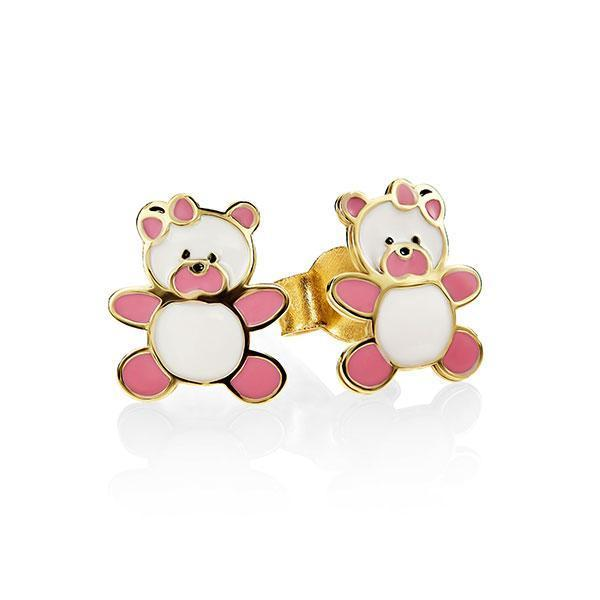 9Ct Yellow Gold Enamel Teddy Bear Stud Earrings