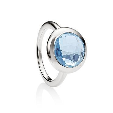 Sterling Silver Bezel Set Blue Topaz Ring