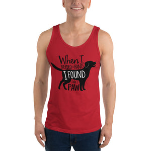 """When I Needed a Hand, I Found a Paw"" Unisex Tank Top"