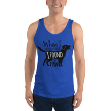 "Load image into Gallery viewer, ""When I Needed a Hand, I Found a Paw"" Unisex Tank Top"