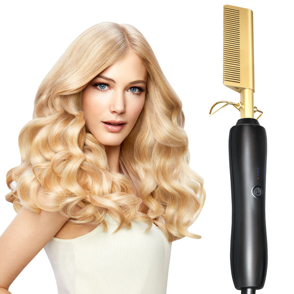 Hair Curling Iron Straightener Comb Electric
