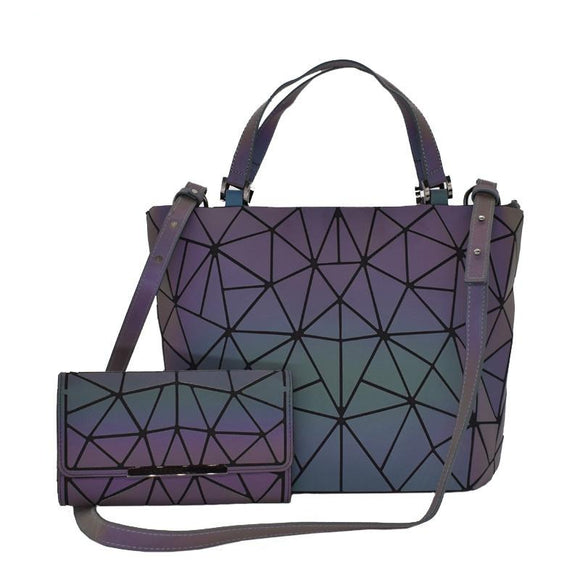 Bundle Geometric Luminous Purses and Handbags for Women Holographic Reflective