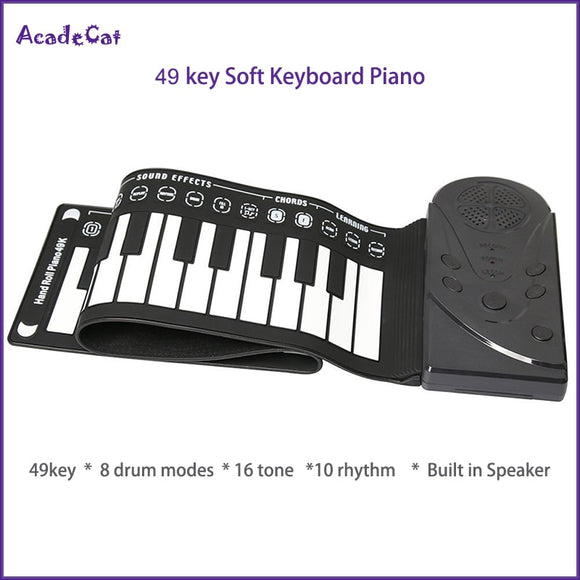 Flexible keyboard roll up piano with speaker