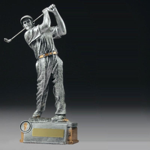 MALE GOLFER SILVER Golf Trophies - 3 Sizes
