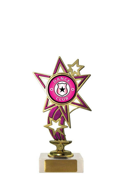 Stars & Ribbon Dance Trophies - Pink - Avail in 5 sizes