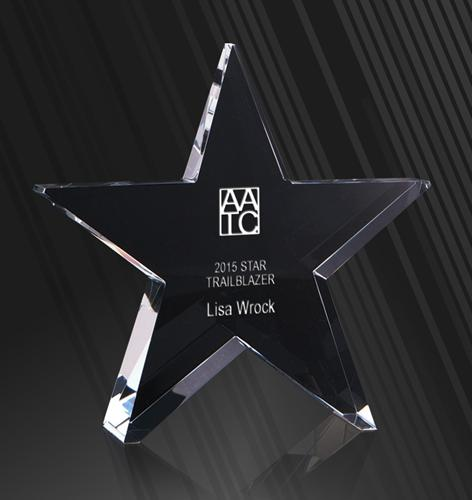 Infiniti Crystal Star Corporate Award - Avail in 3 sizes trophies and awards Engrave Works