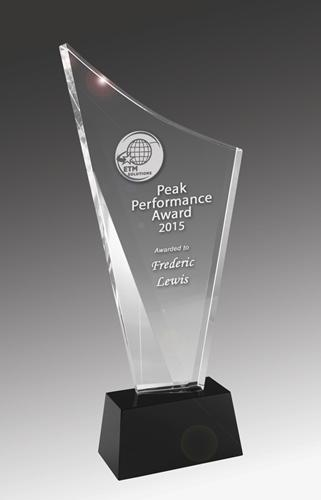 Sail Crystal on Black Base Corporate Award - Avail in 4 sizes