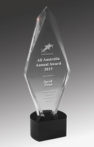 Arrow Crystal on Black Base Corporate Award - Avail in 4 sizes