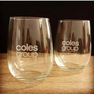 Corporate - Stemless Wine Glass Engraved Personalised Glasses Engrave Works