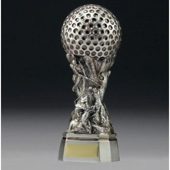 RAISED BALL SILVER Golf Trophies - 3 sizes