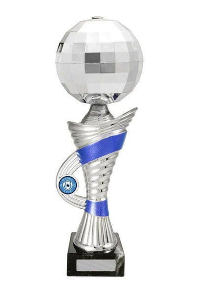 Opulent Disco Ball Dance Trophies - Silver/Blue - Avail in 3 sizes