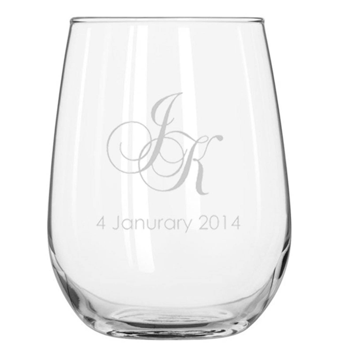 Engraved Libbey Stemless Wine Glasses 503ml