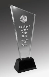 Wedge Crystal on Black Base Corporate Award - Avail in 4 sizes trophies and awards Engrave Works